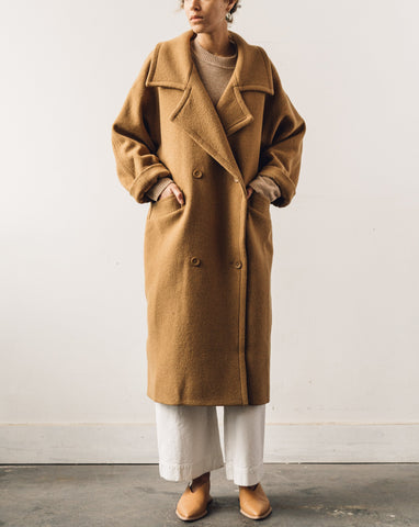 7115 Oversized Long Wool Coat, Bronze