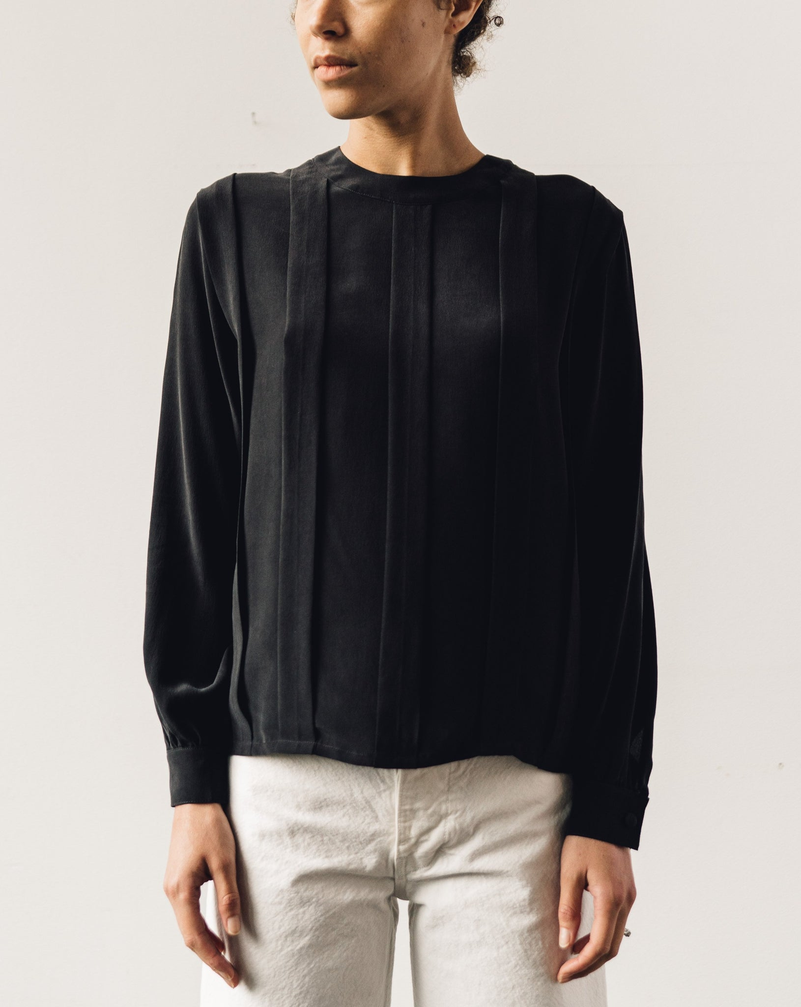 7115 Pleated Silk Blouse, Black