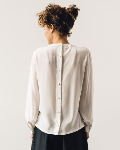 7115 Pleated Silk Blouse, Off-White