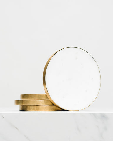 Brass-Edged Marble Coaster