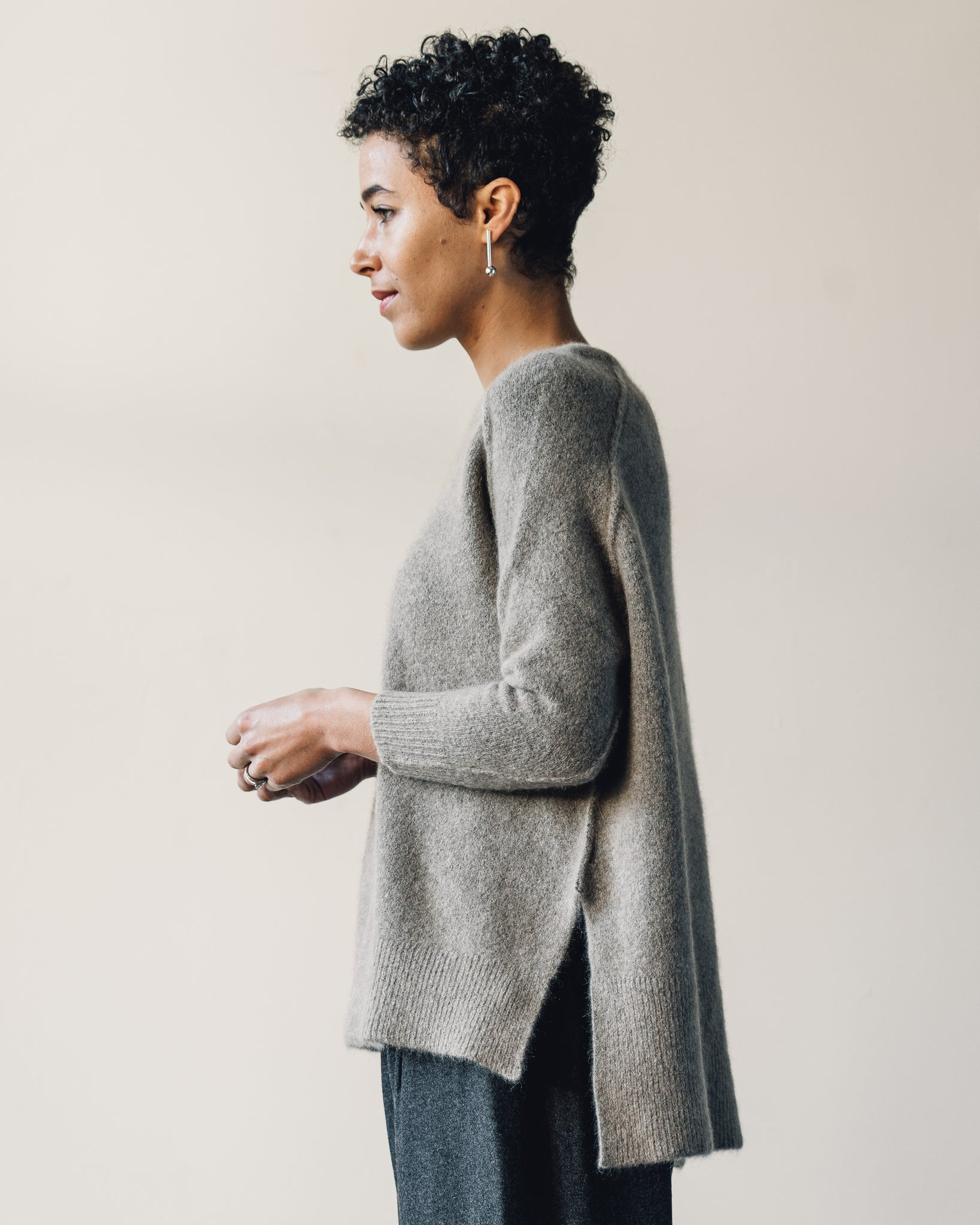 7115 Exposed Seams Sweater, Walnut
