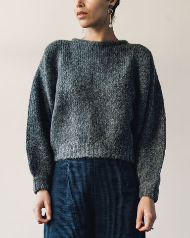 Delphine Balloon Sleeve Sweater, Charcoal