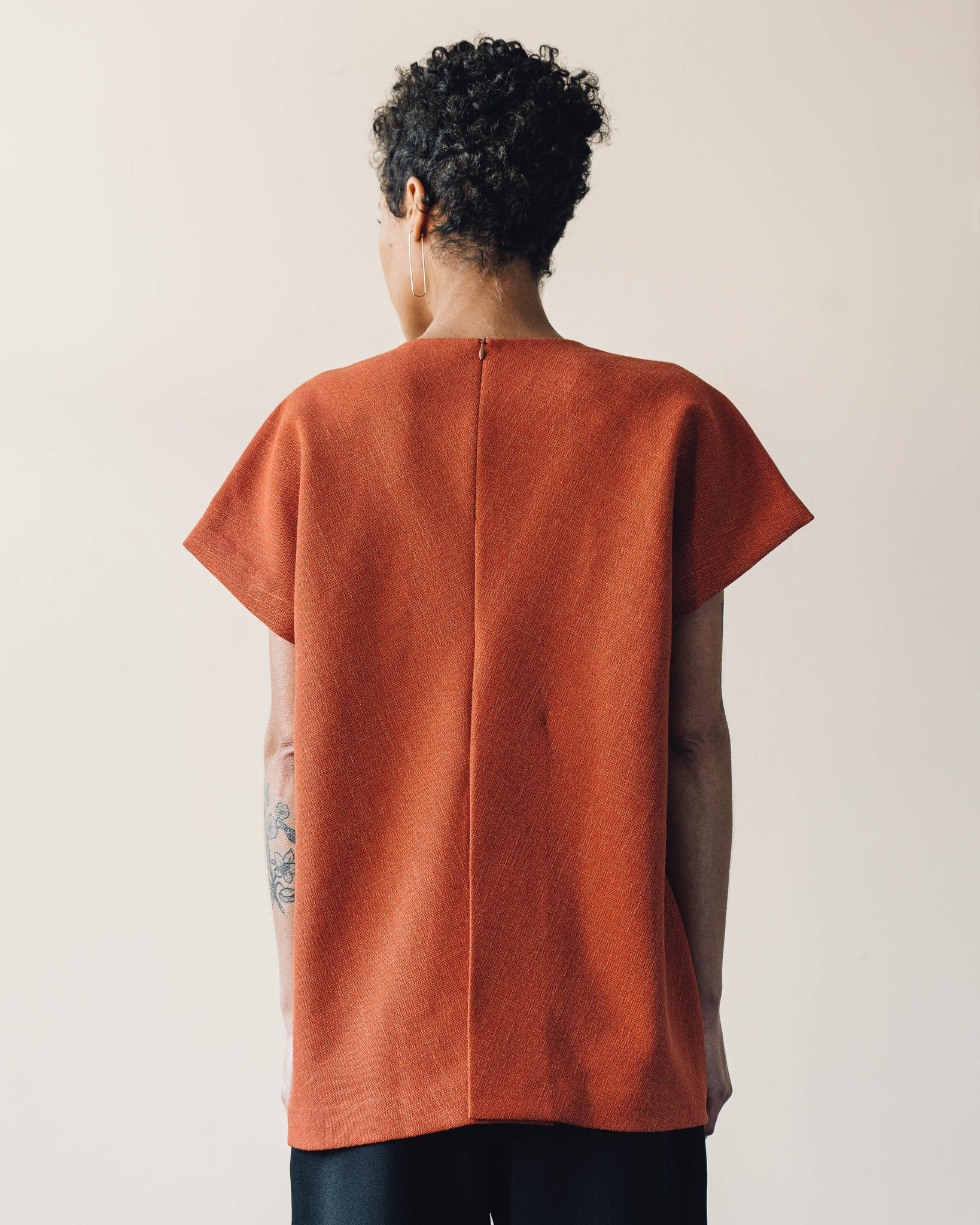 Kaarem Radix Dolman Sleeve Tapered Top, Orange Sesame