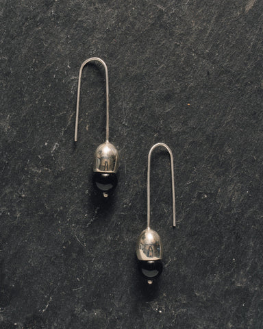 Another Feather Ama Earrings, Black Onyx
