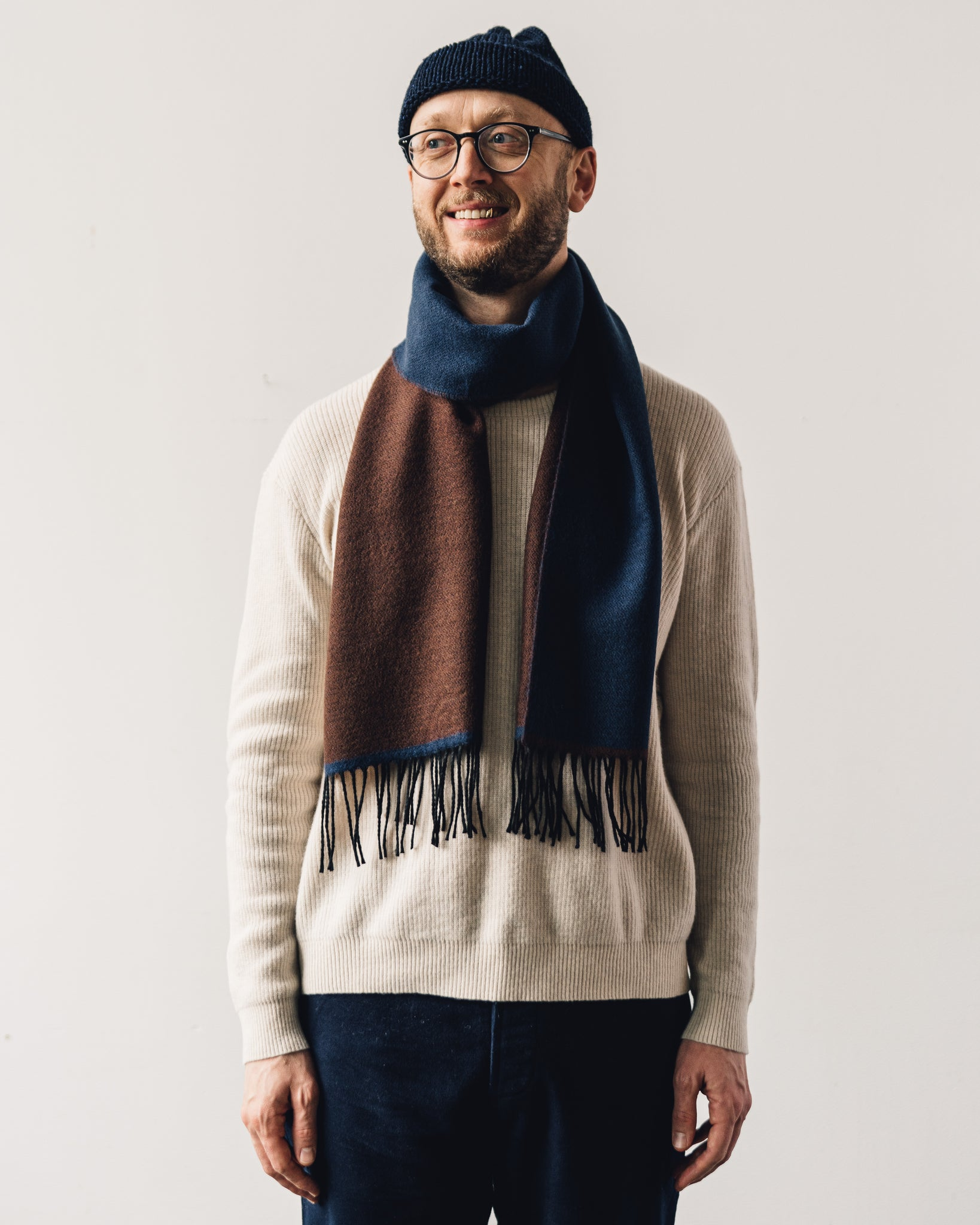 Universal Works Scarf, Blue/Chocolate