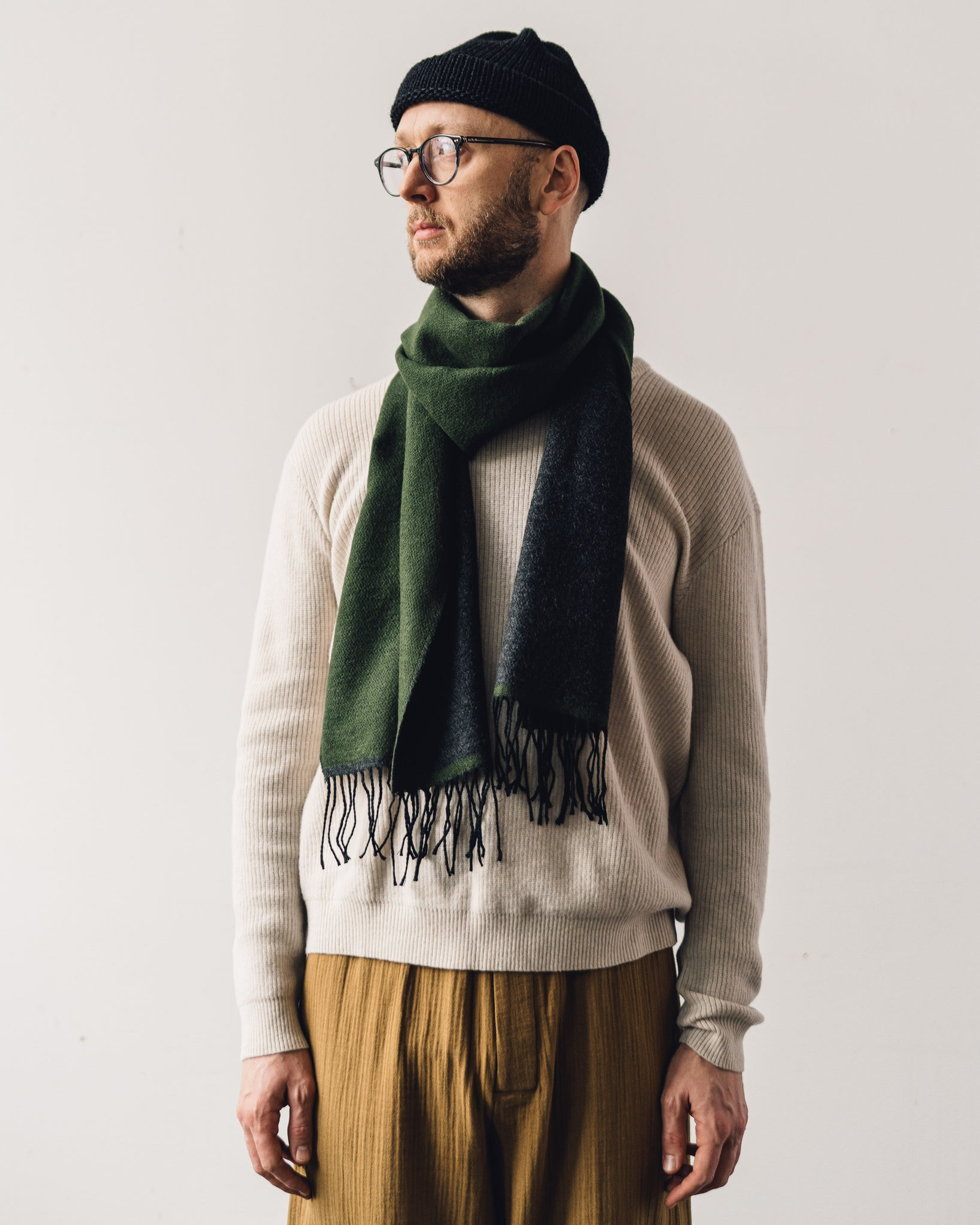Universal Works Scarf, Olive/Charcoal
