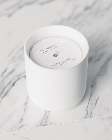Lightwell White Ceramic Candle