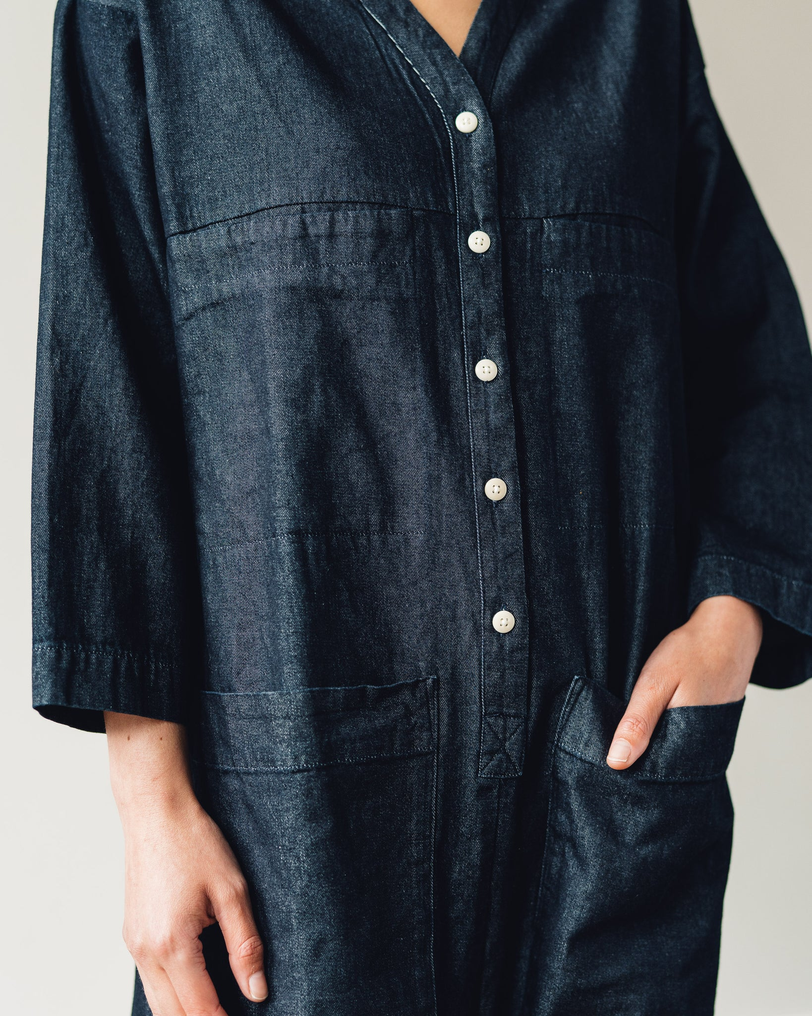 Ilana Kohn Tuck Coverall, Dark Denim