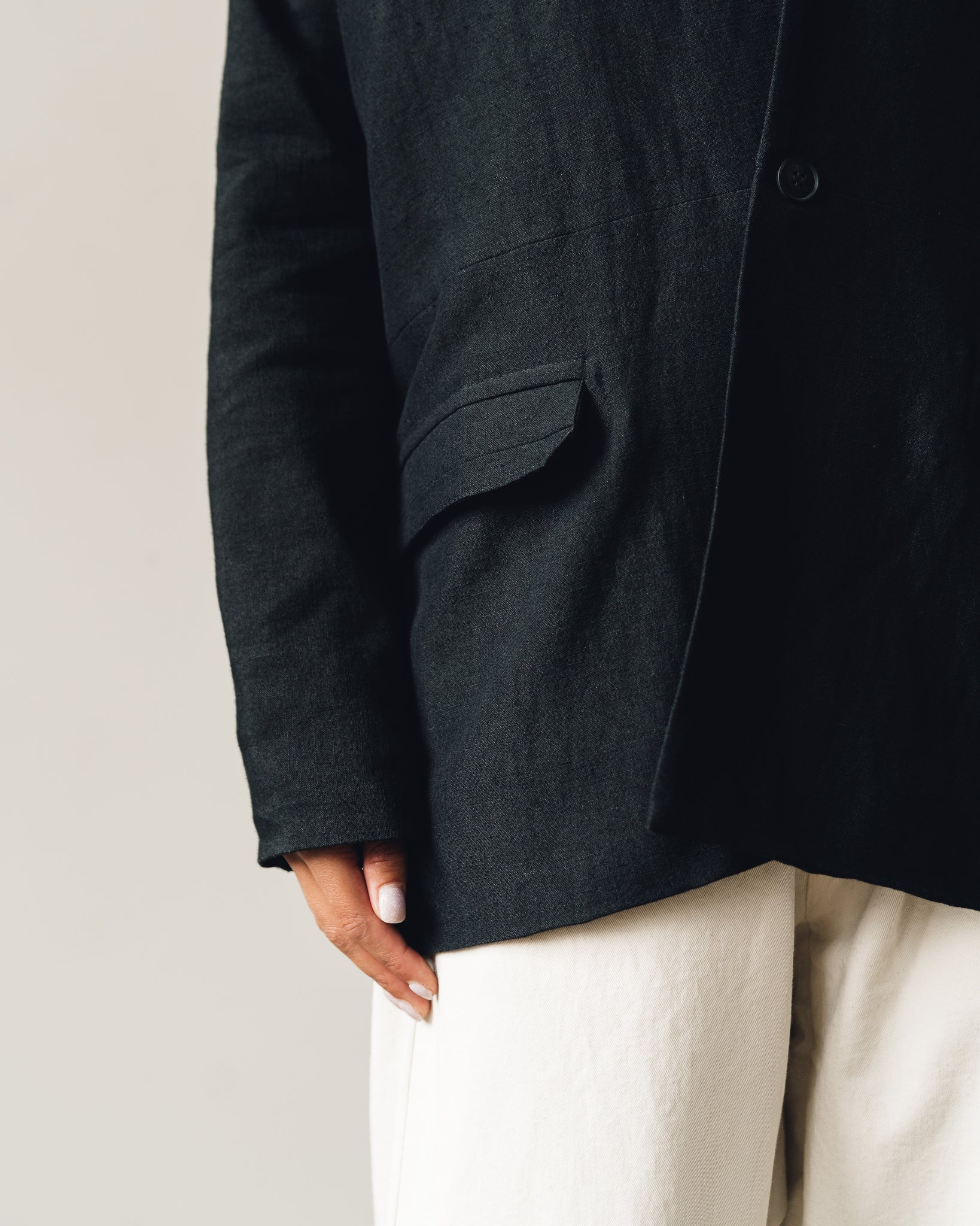 Jan-Jan Van Essche Jacket #36, Black Wool/Linen
