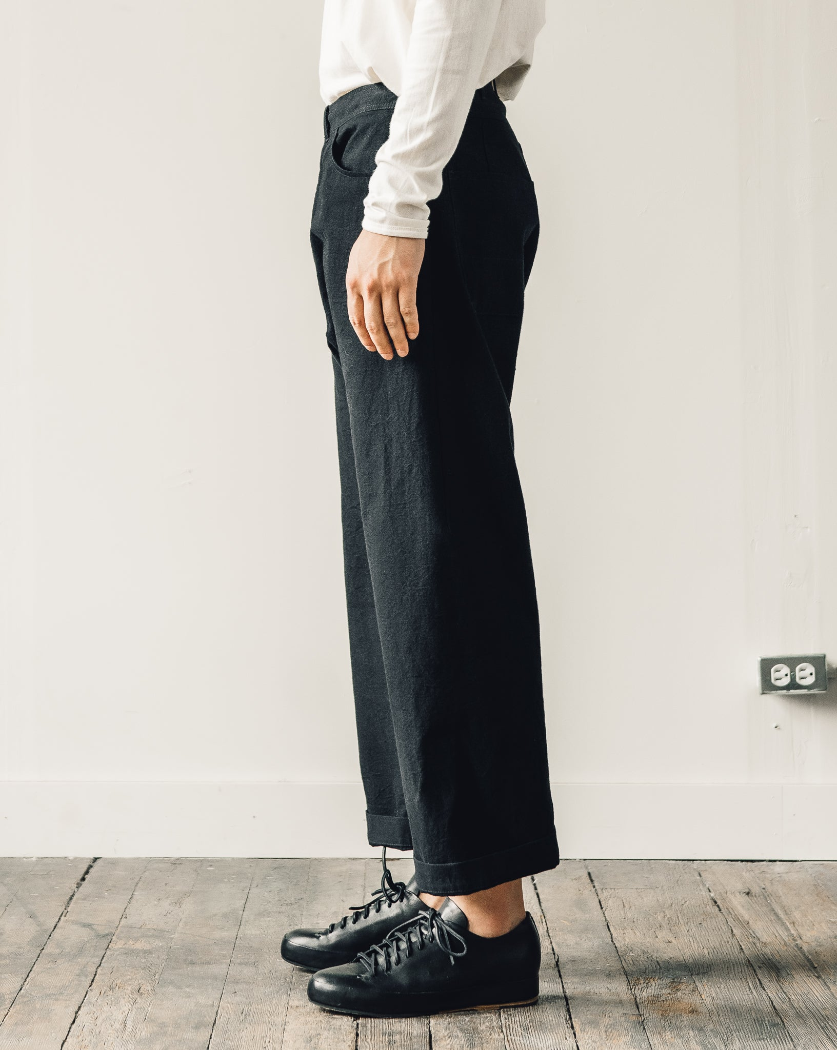 Jan-Jan Van Essche Trousers #53, Black Melange Cotton/Wool Canvas