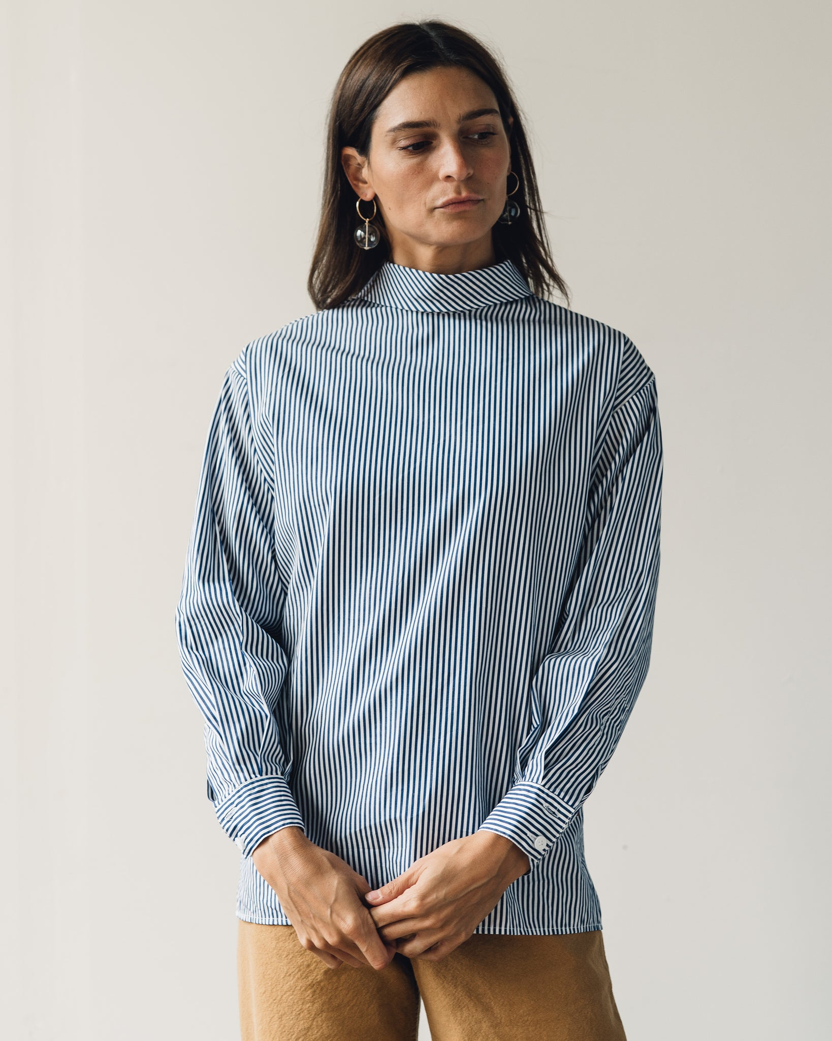 Jesse Kamm Box Turtleneck, Thin Stripe