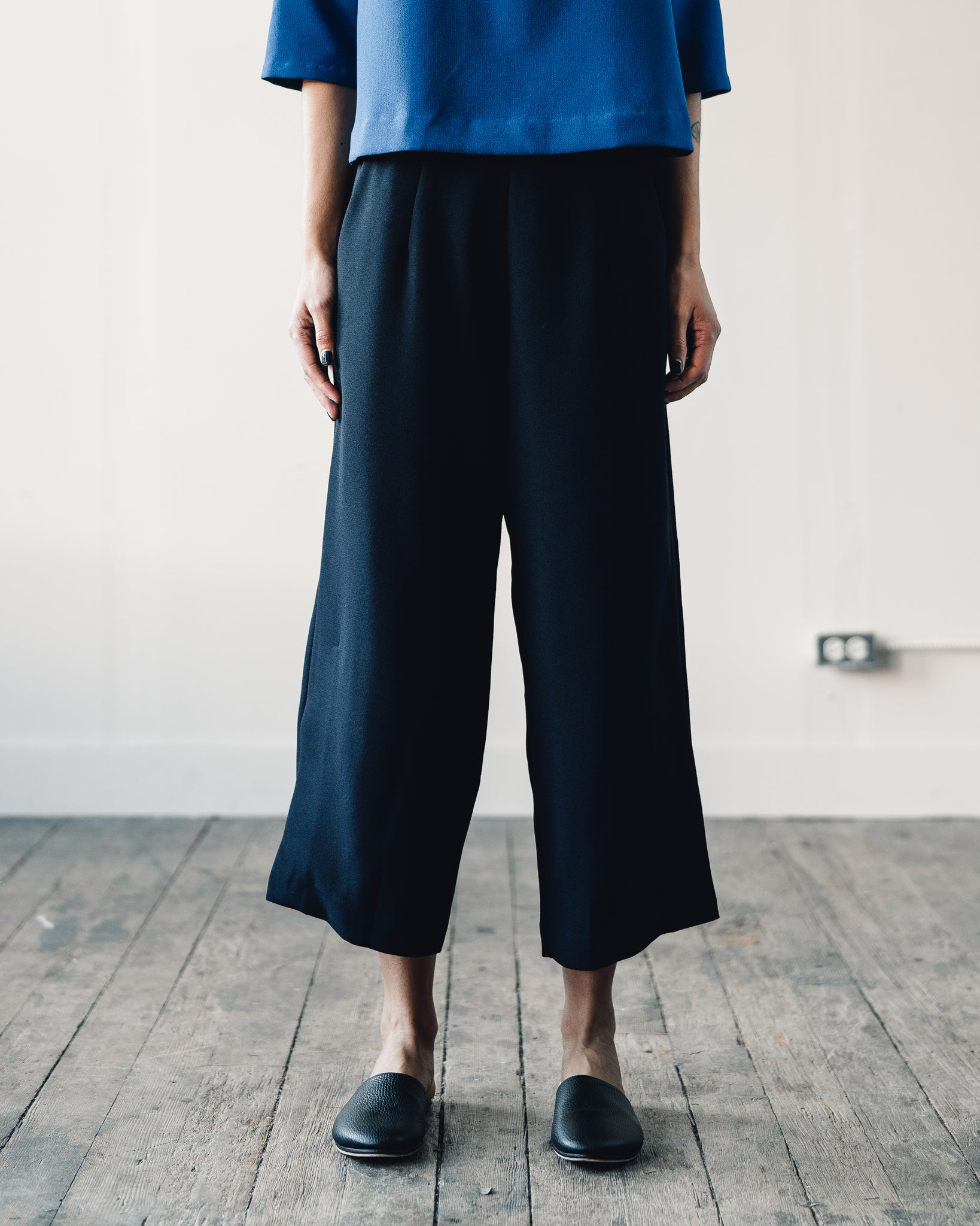 Kaarem Bambu Relaxed Wide Split Leg Pant, Black Blue
