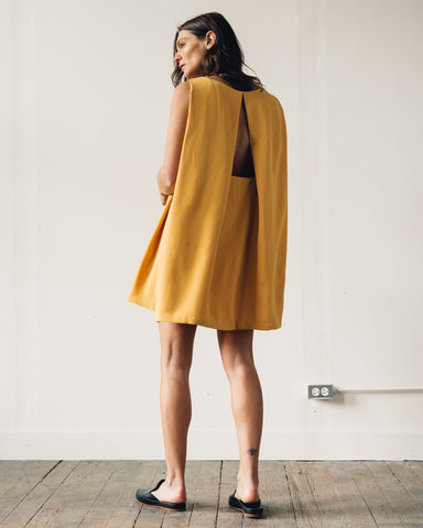 Kaarem Boatneck Open Back Dress, Yellow Algae