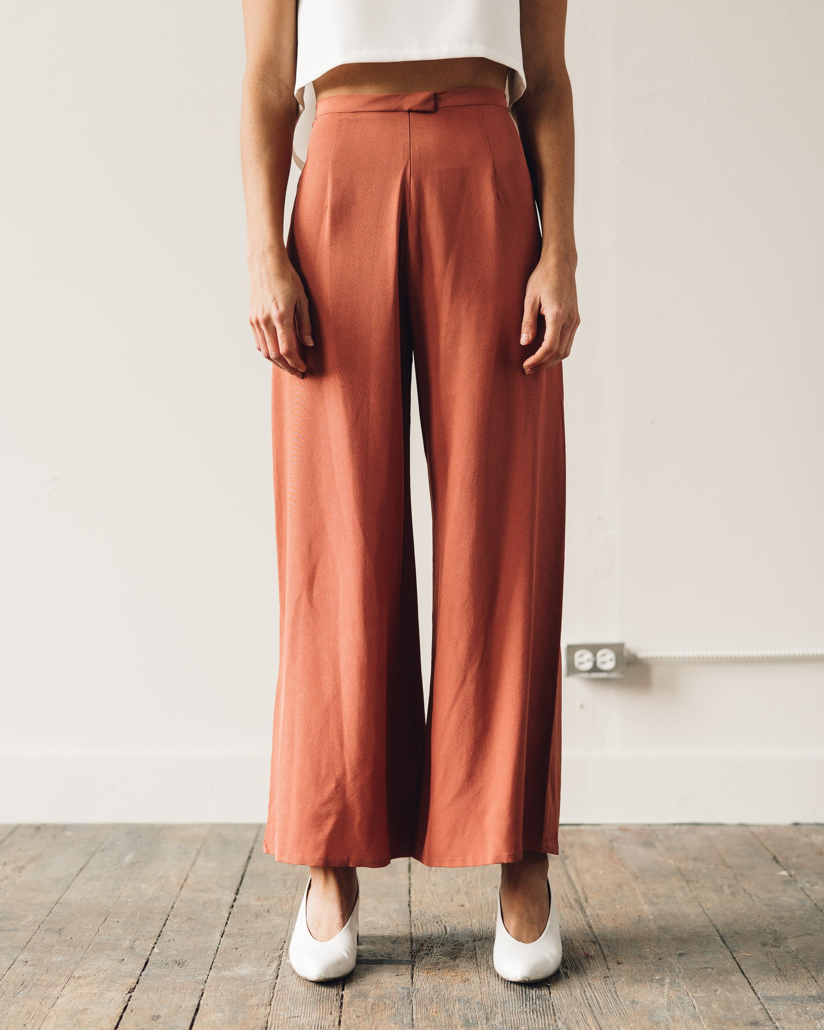 Kaarem Song Tu Wide Leg Silk Pants, Terracotta