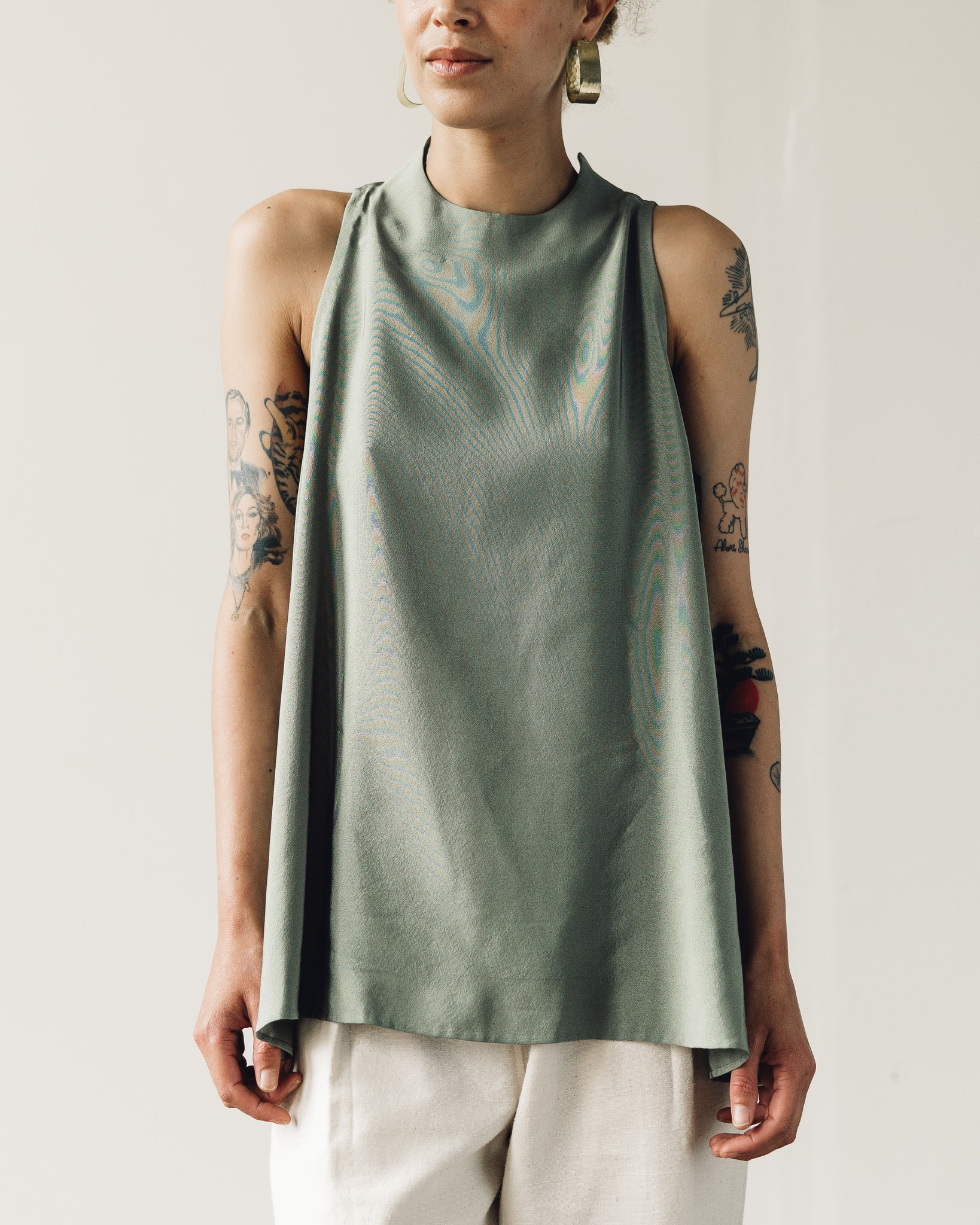 Kaarem Tao Low V-Back Silk Tank Top, Moss Green