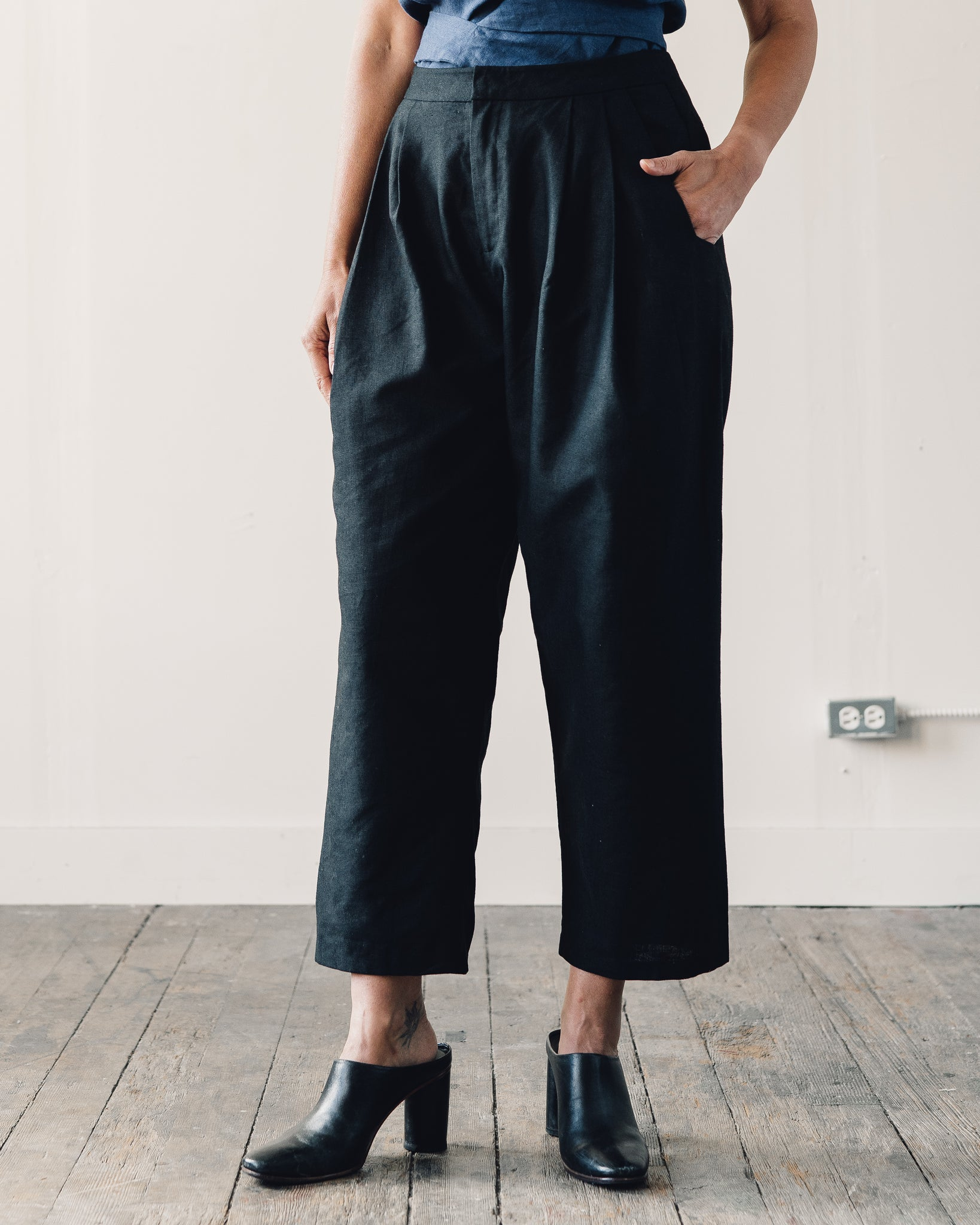 Kaarem Waxy Pleated Tapered Cropped Pant