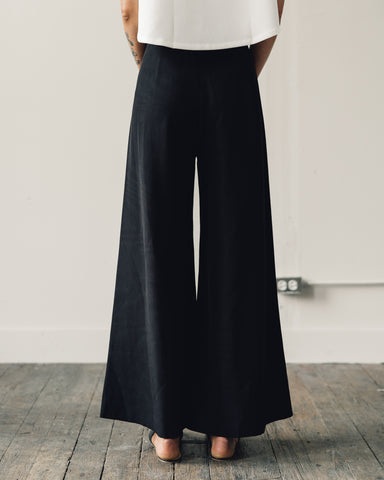 Kaarem Song Tu Wide Leg Silk Pants, Black