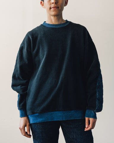 Kapital Fleece/Denim Quilted Big Sweatshirt, Black Indigo