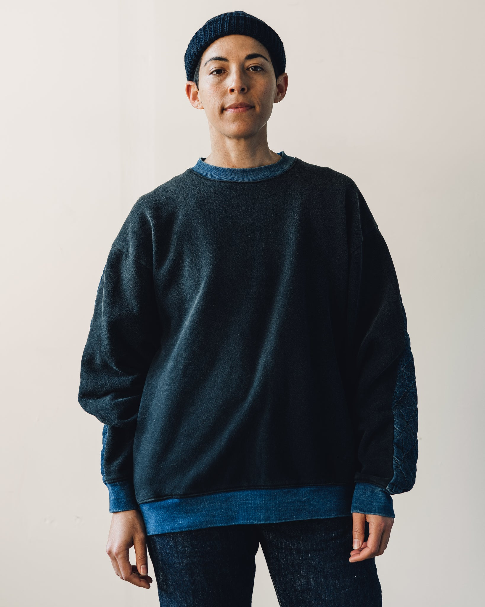Kapital Fleece/Denim Quilted Big Sweatshirt