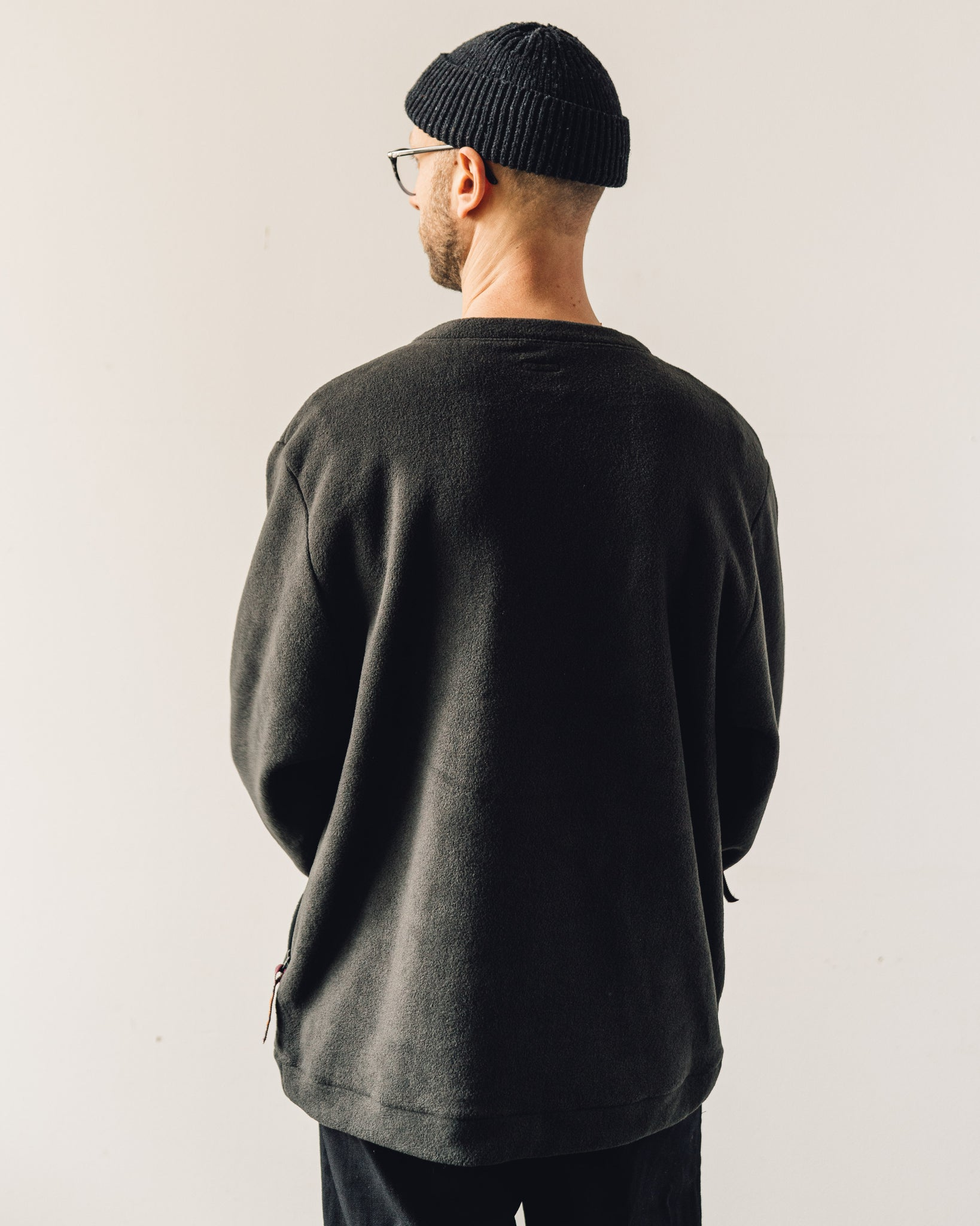 Kapital Reverse Fleece Big Crew Sweatshirt, Black