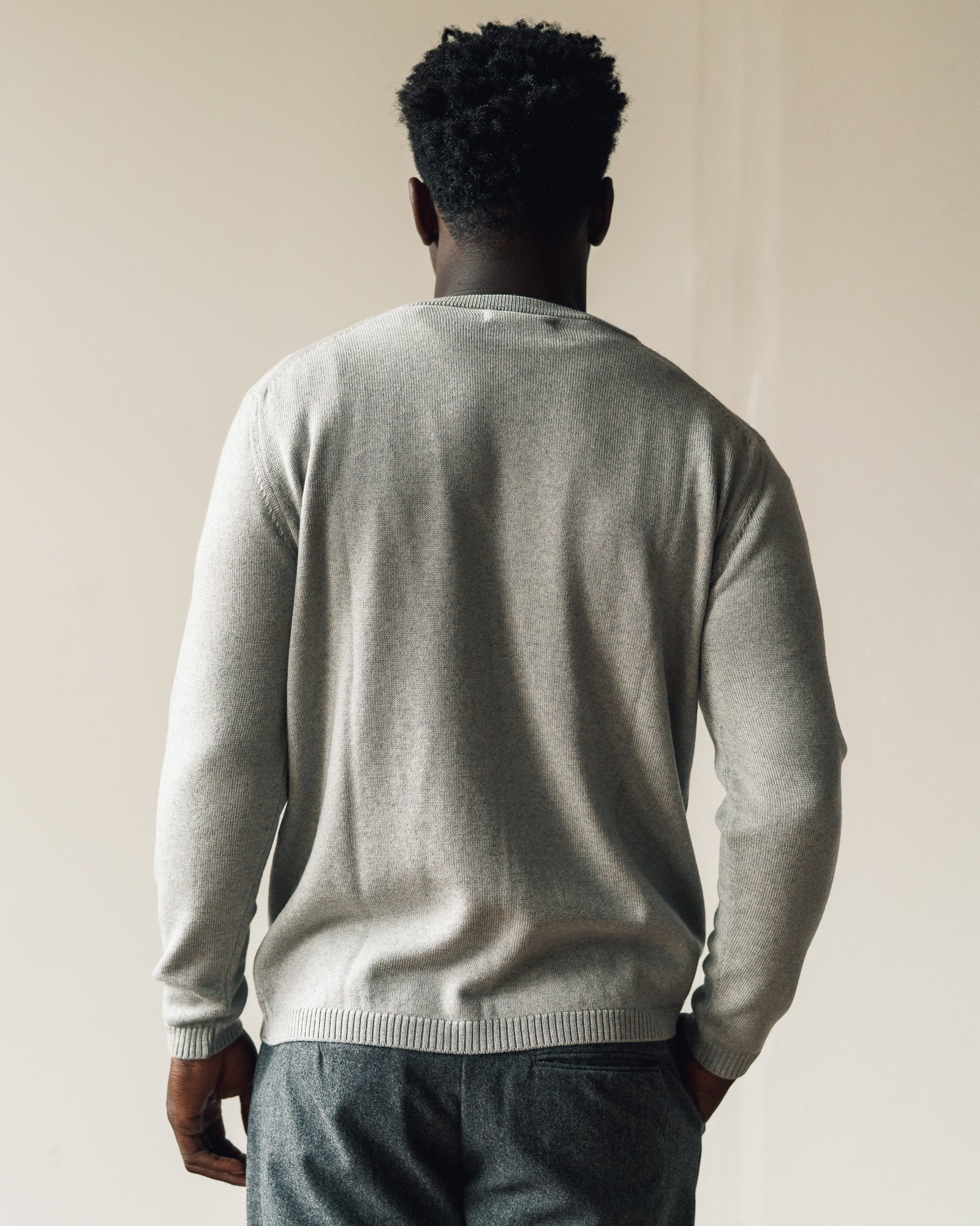 Merz b. Schwanen Relaxed Pullover with Pocket, Grey Melange