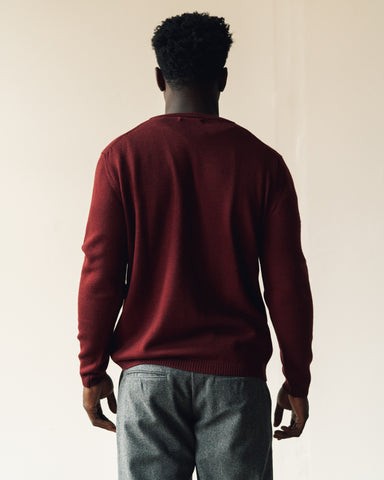Merz b. Schwanen Relaxed Pullover with Pocket, Red Oak