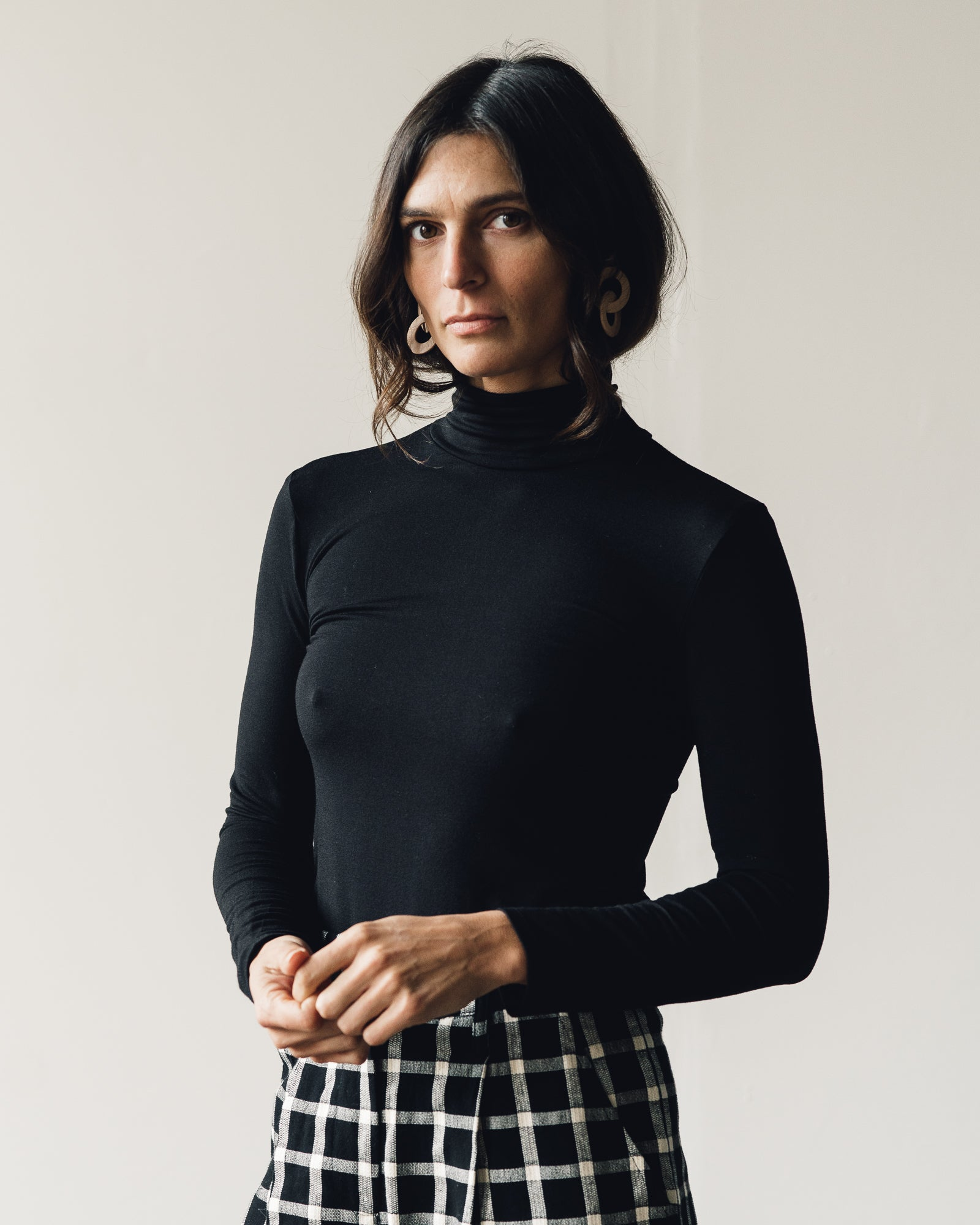 Micaela Greg Jersey Turtleneck, Black