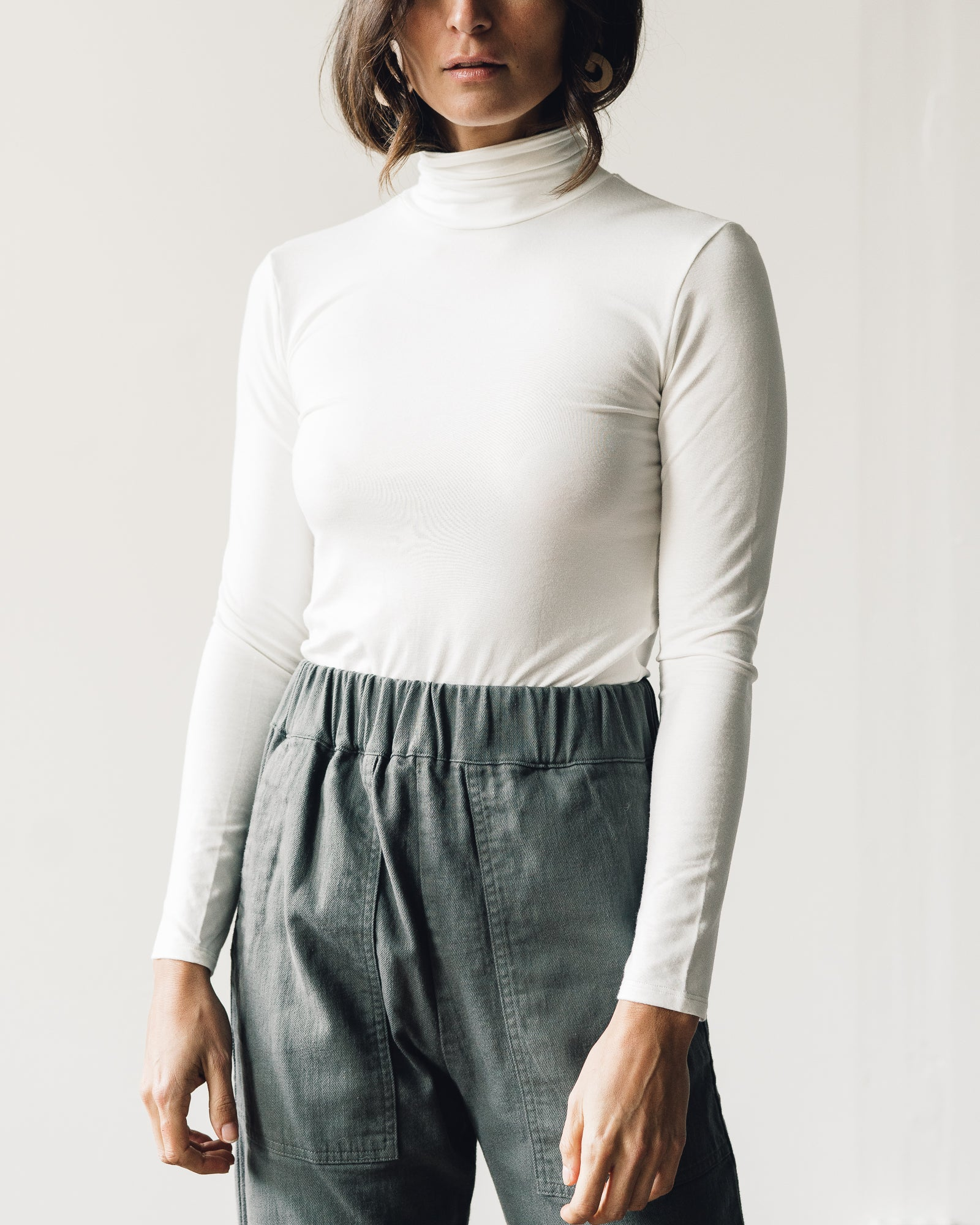 Micaela Greg Jersey Turtleneck, Cream