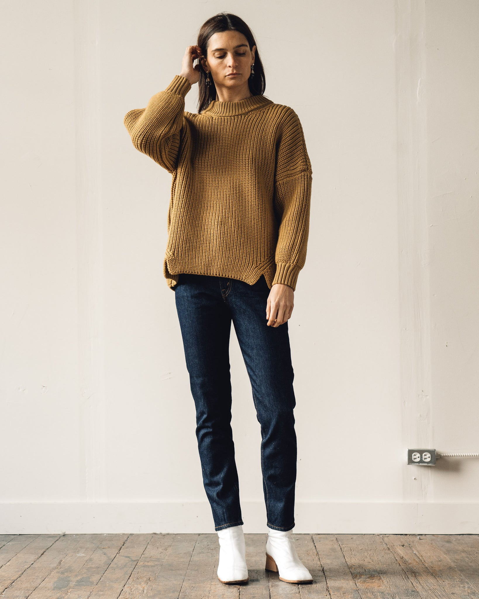 Micaela Greg Notched Hem Sweater