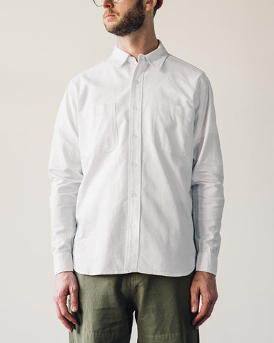 Nigel Cabourn Welder Pocket Oxford, White
