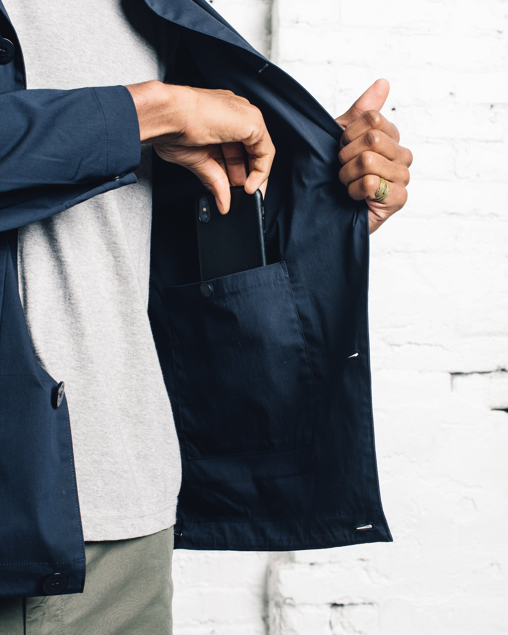 Norse Projects Daniel Crisp Poplin, Navy