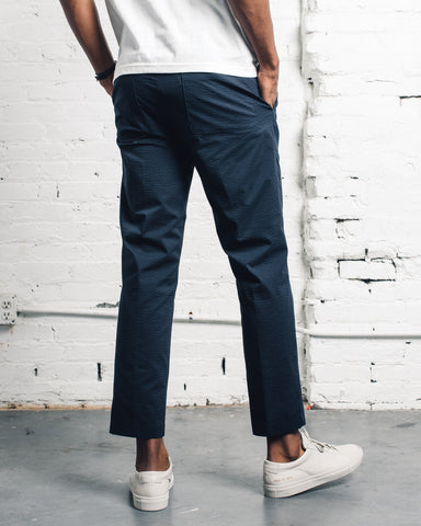 Norse Projects Harri Tapered Seersucker, Dark Navy