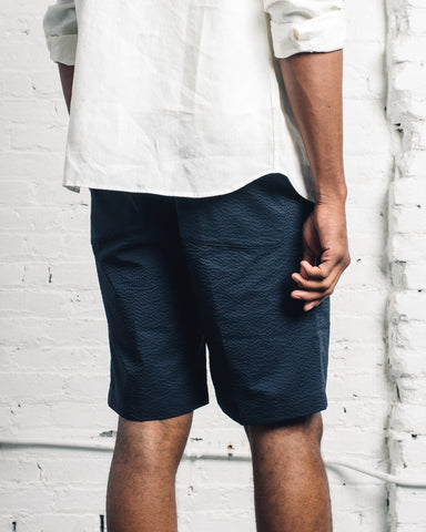 Norse Projects Harri Seersucker Shorts, Dark Navy