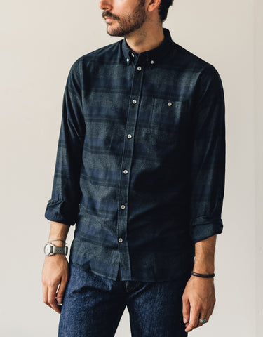 Norse Projects Anton Brushed Flannel Check Shirt, Dark Navy