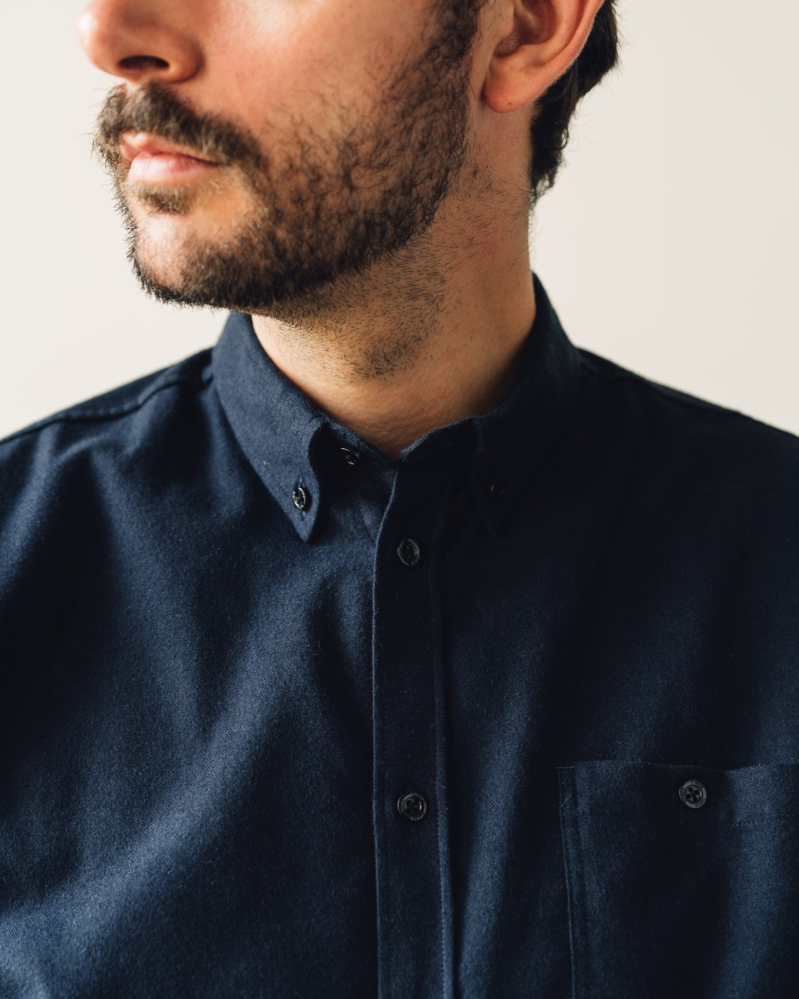 Norse Projects Anton Brushed Flannel Shirt, Dark Navy