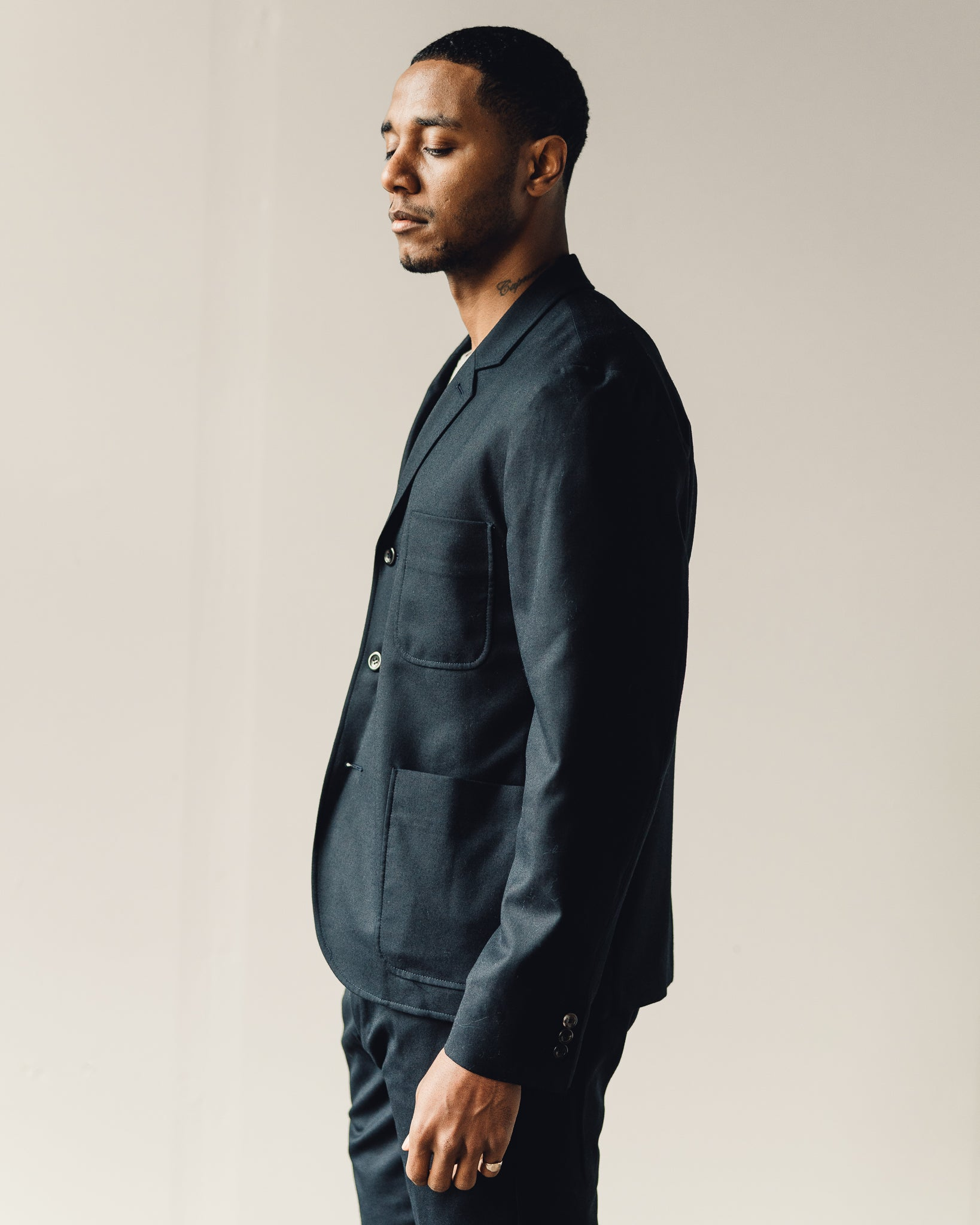 Norse Projects Boris Technical Wool Jacket, Navy