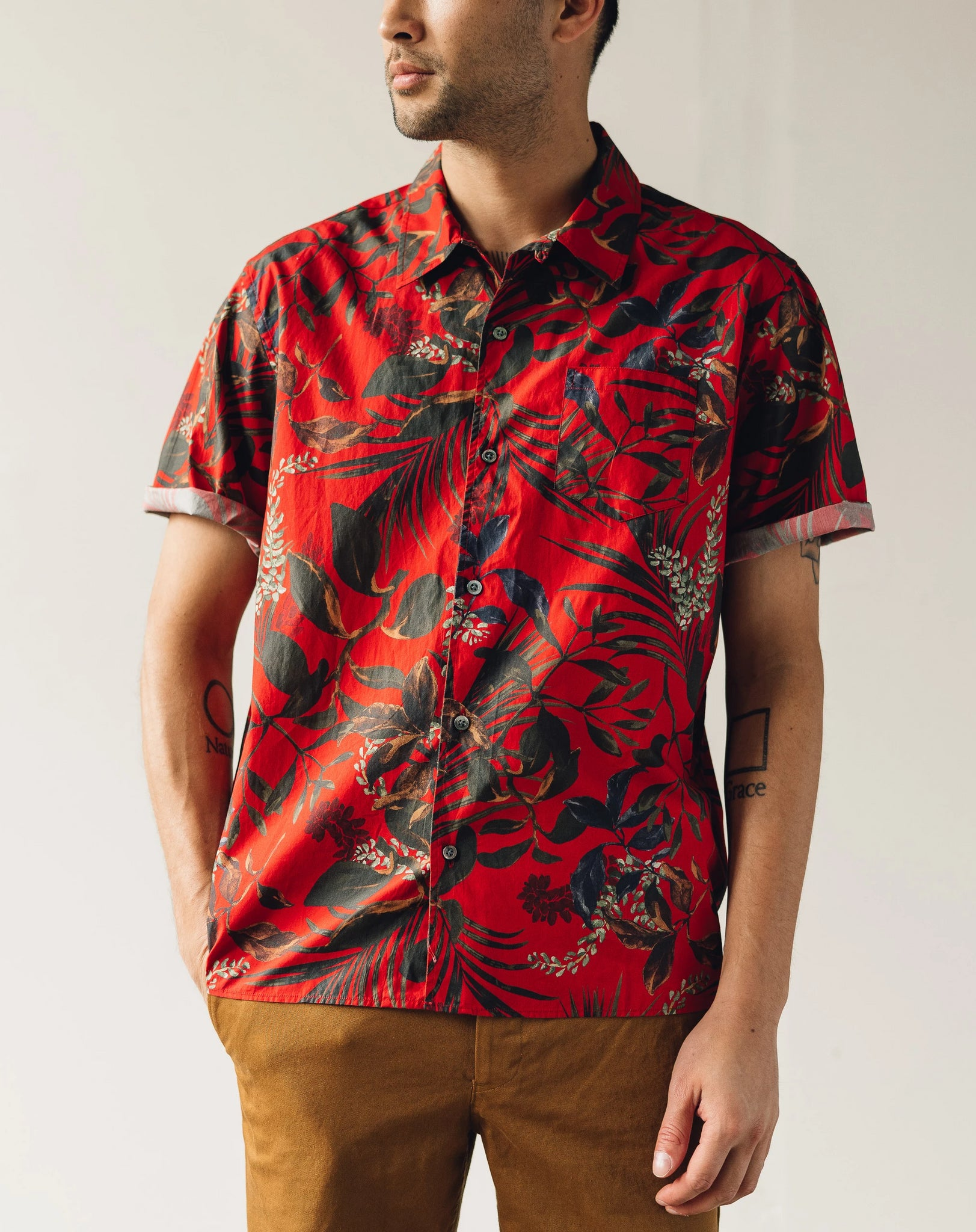 Norse Projects Carsten Print Shirt, Askja Red