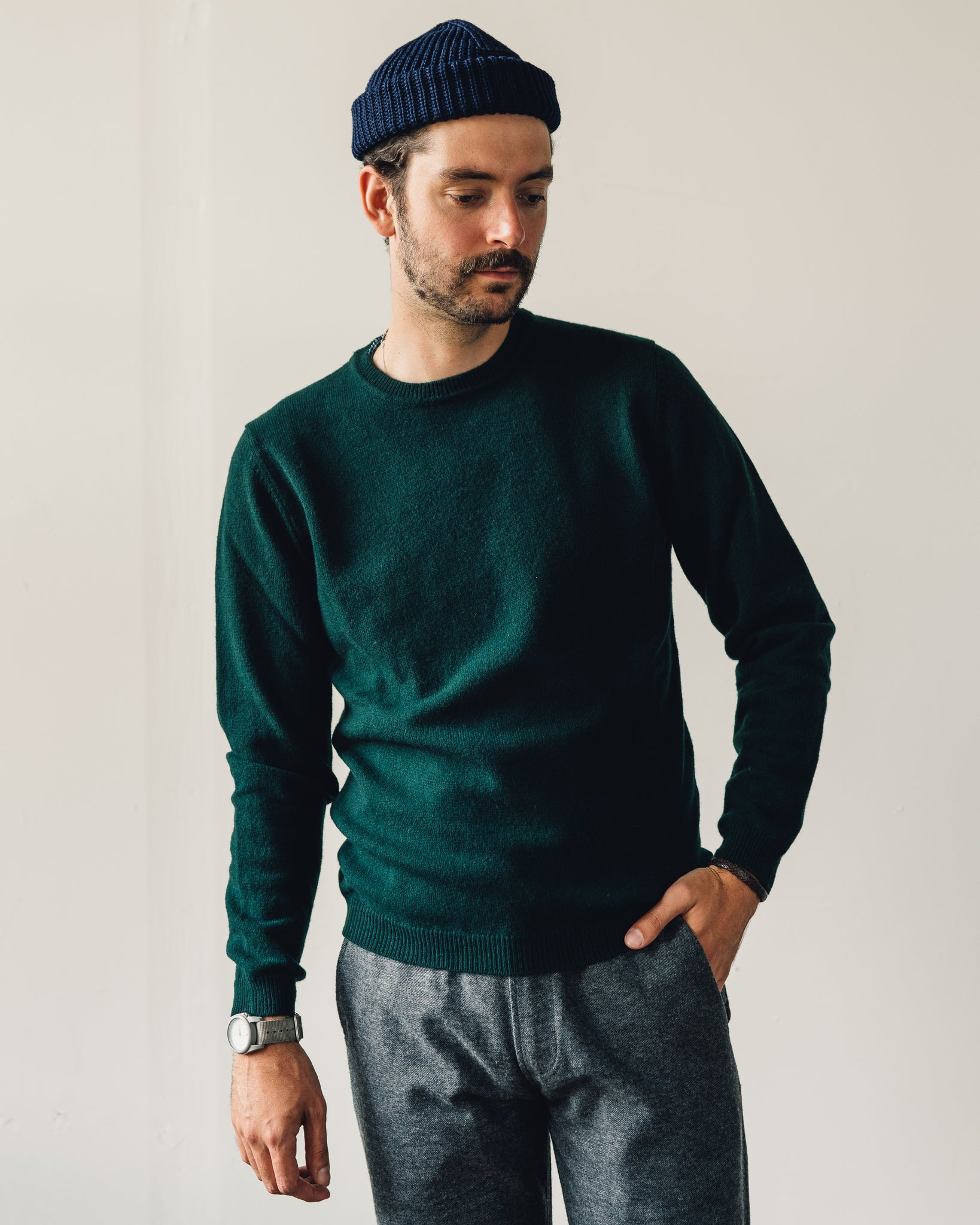 Norse Projects Sigfred Lambswool Sweater, Quartz Green