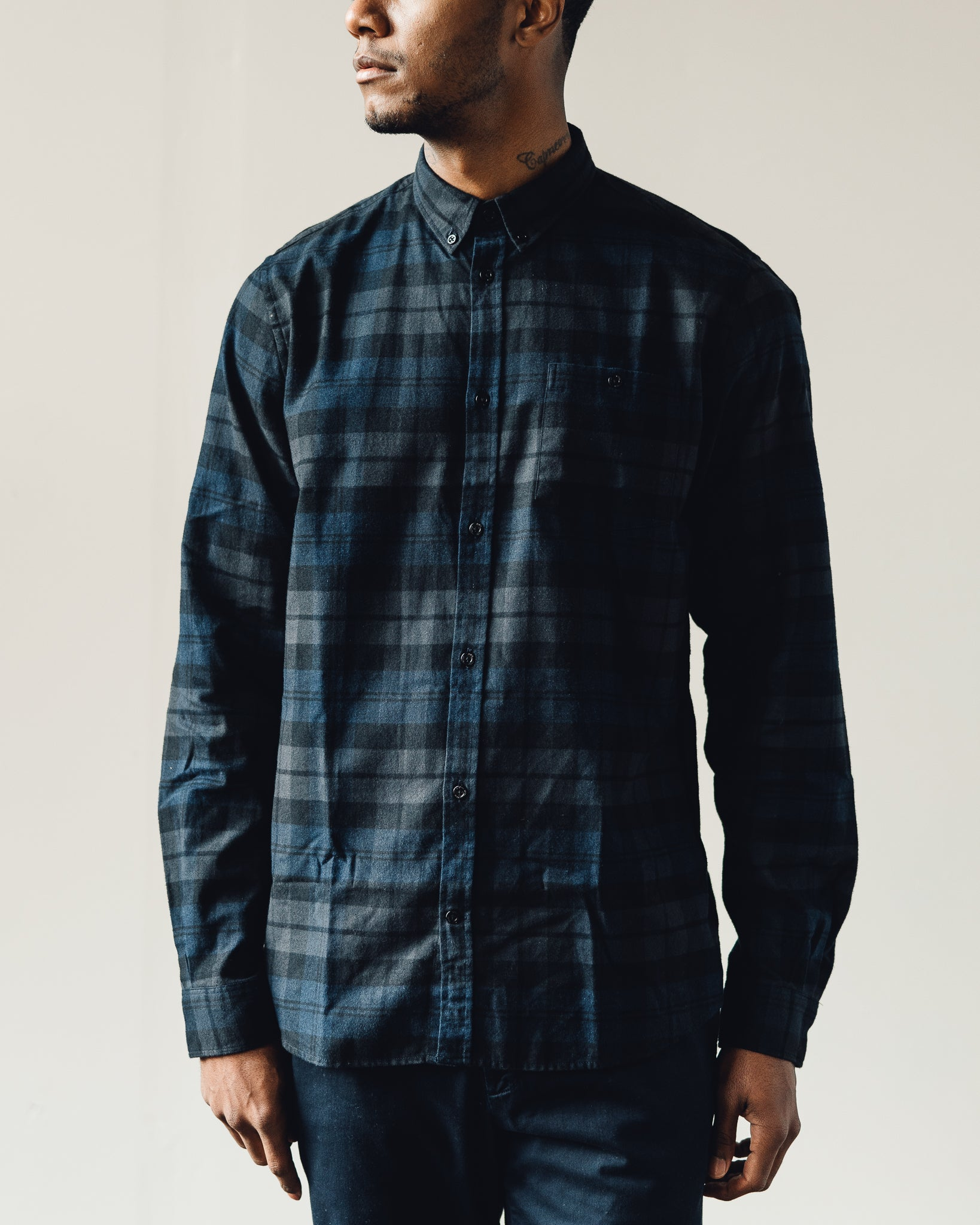 5e3723b112 Norse Projects Anton Flannel Check Shirt, Dark Navy | Glasswing
