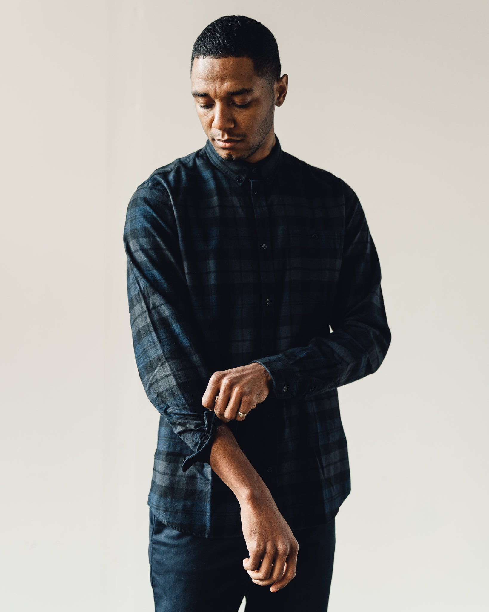 Norse Projects Anton Flannel Check Shirt, Dark Navy