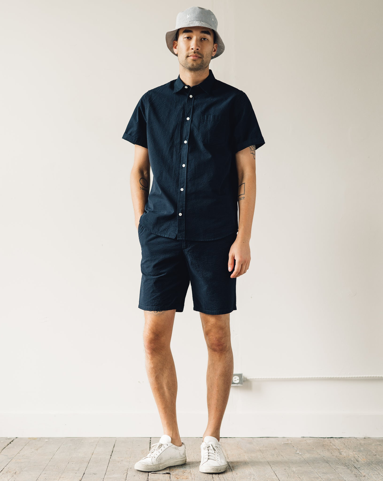 Norse Projects Osvald Seersucker SS, Dark Navy