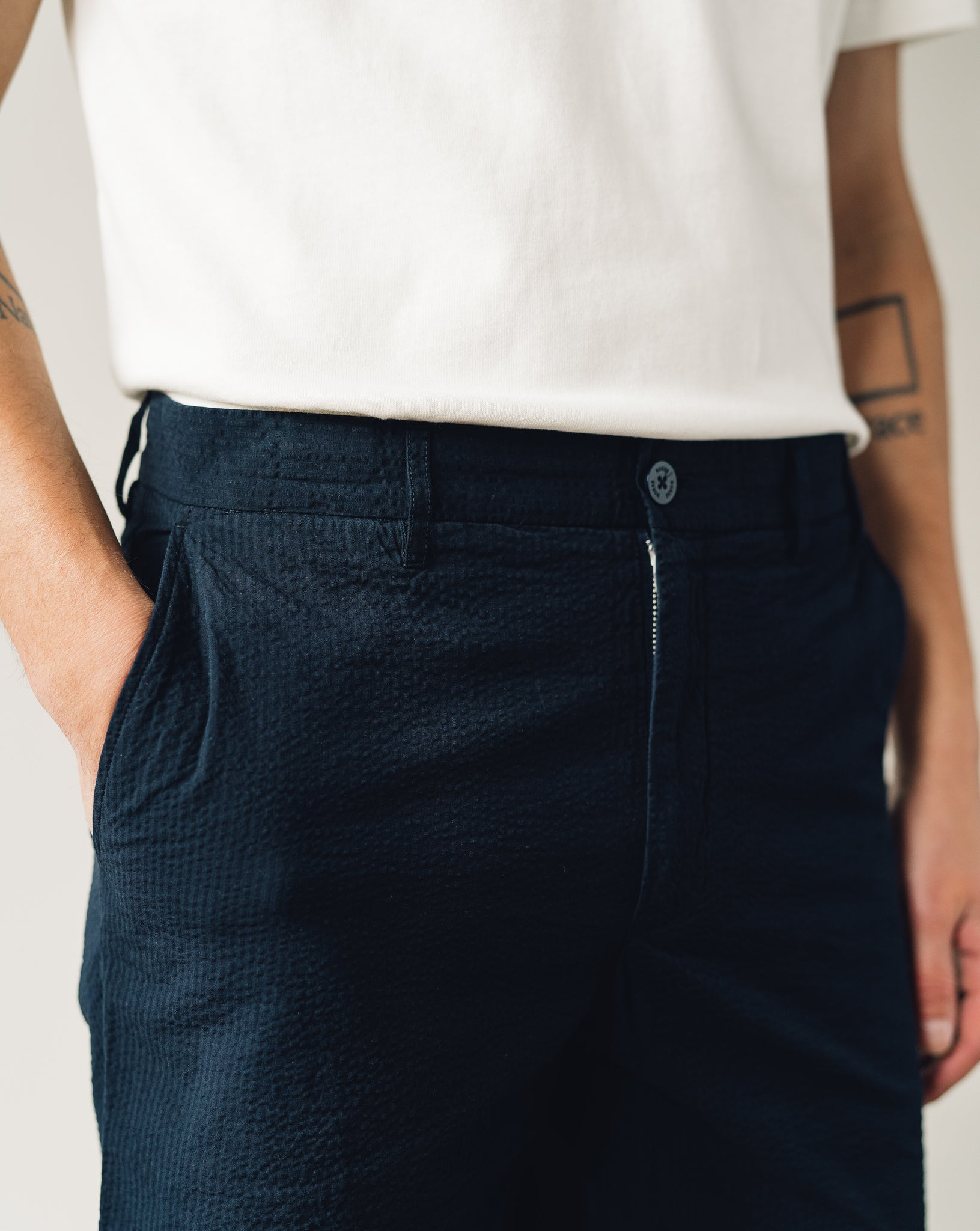 Norse Projects Aros Seersucker Shorts, Dark Navy