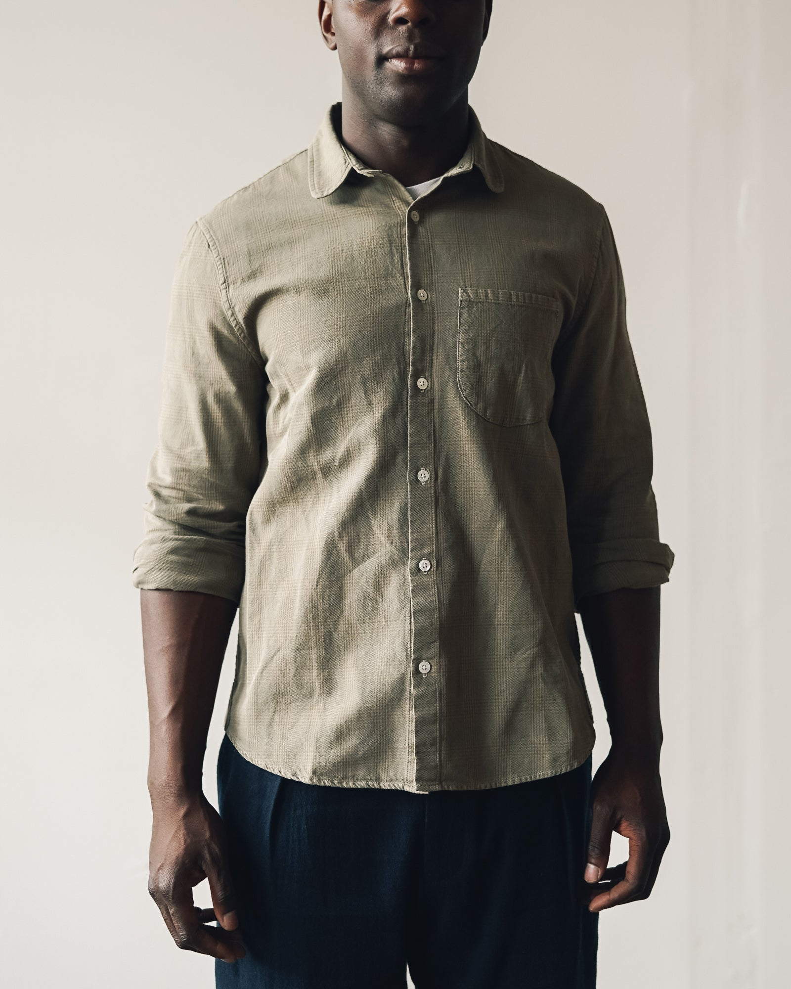 Older Brother Classic Fit Shirt, Mushroom Plaid