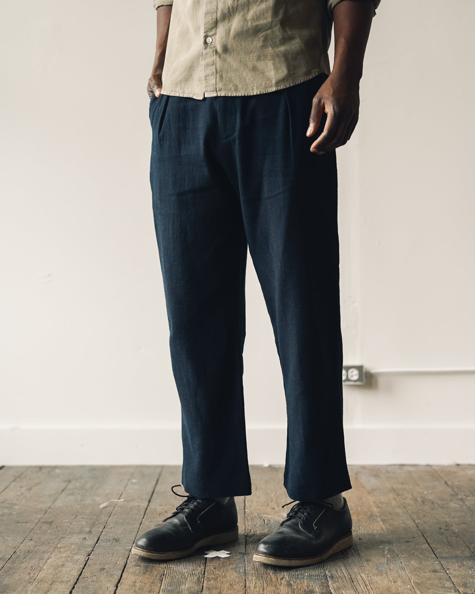 Older Brother Pleated Trouser, Black Indigo