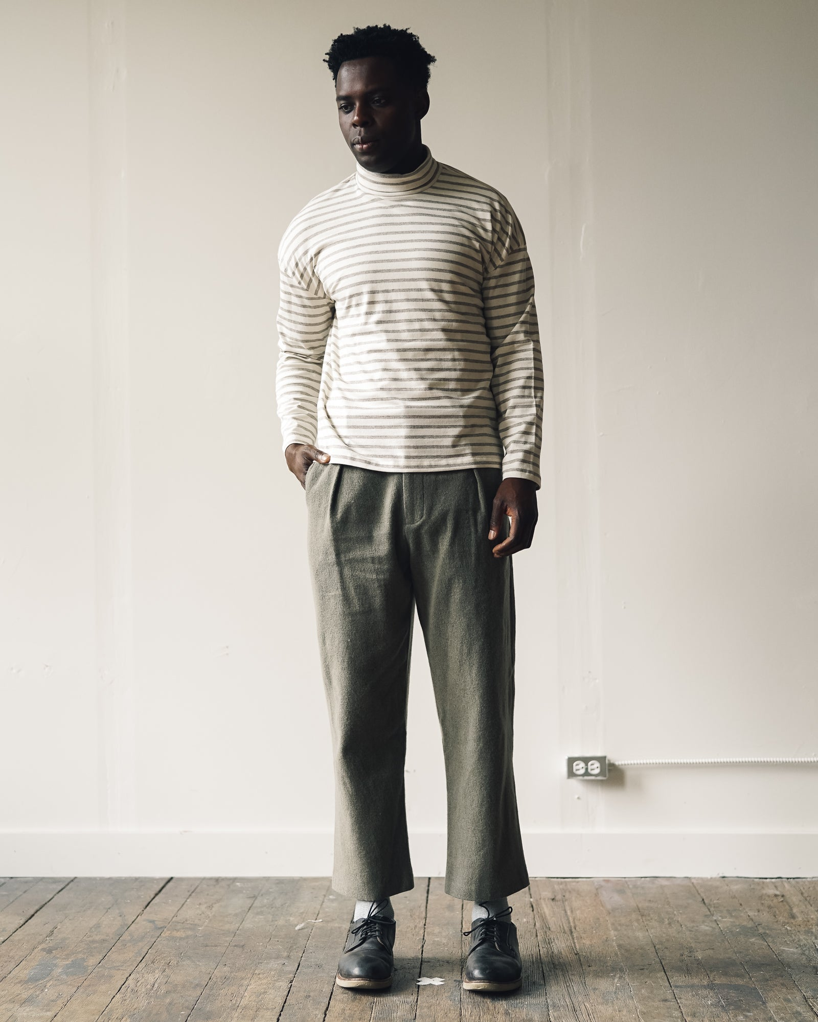 Older Brother Pleated Trouser, Mushroom Moss