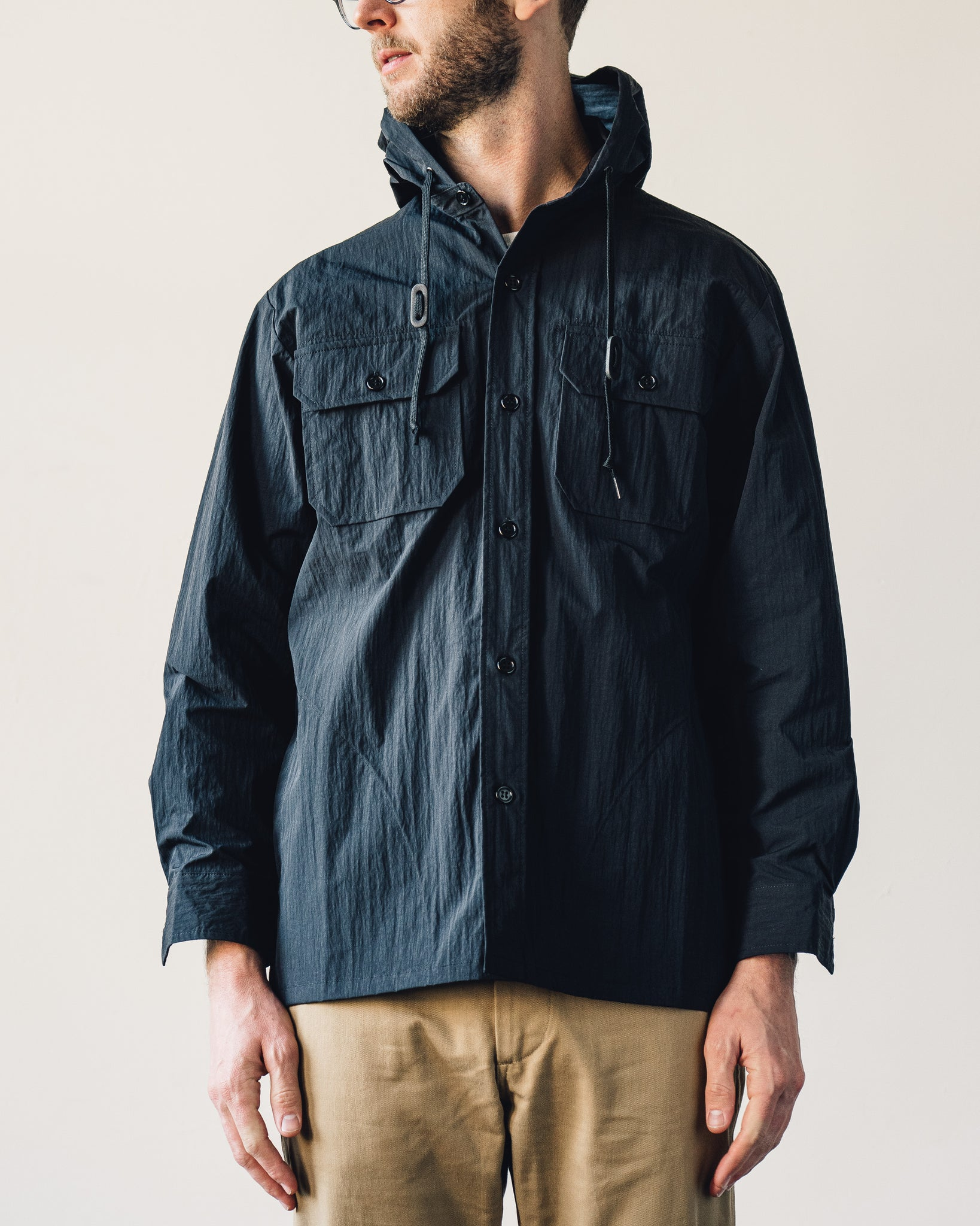 Orslow Hooded Shirt Jacket, Black