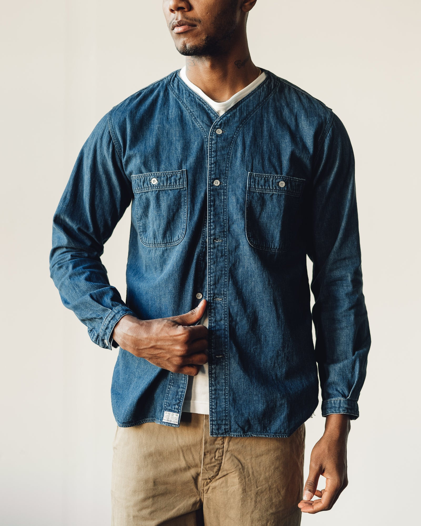 OrSlow No Collar Denim Shirt, Indigo