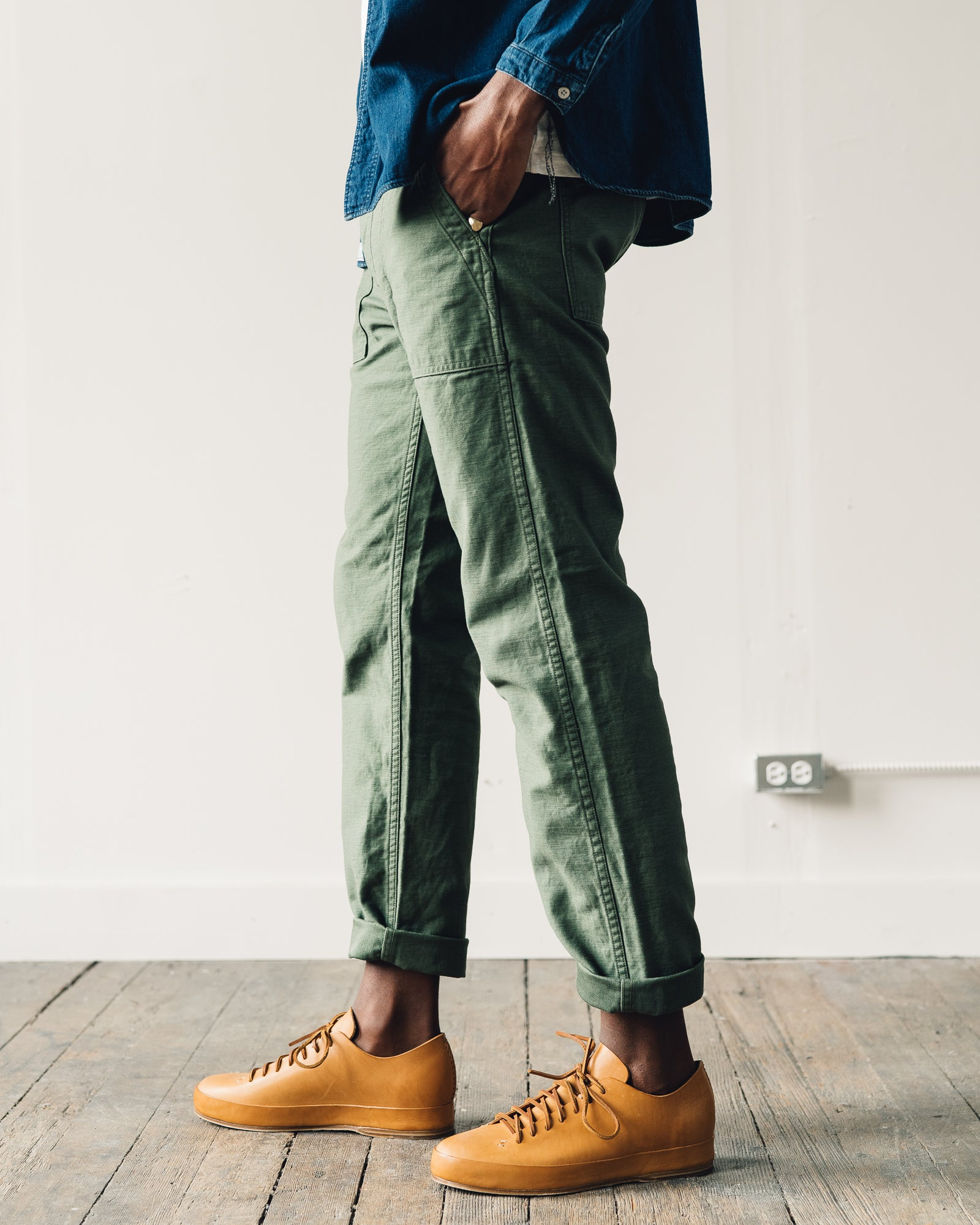 Orslow Slim Fit Fatigue Pant, Green