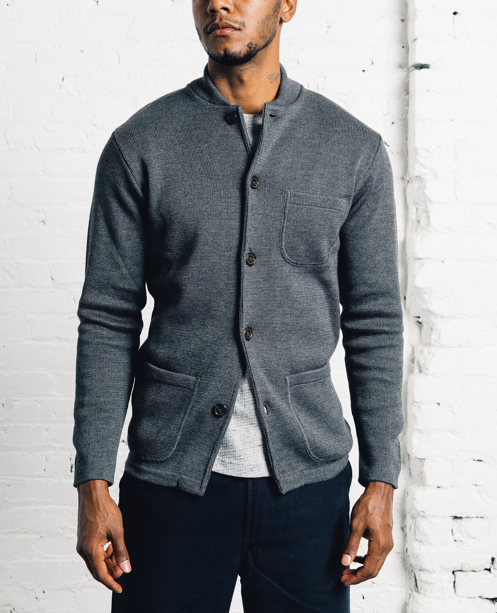 Universal Works Knit Work Jacket, Charcoal