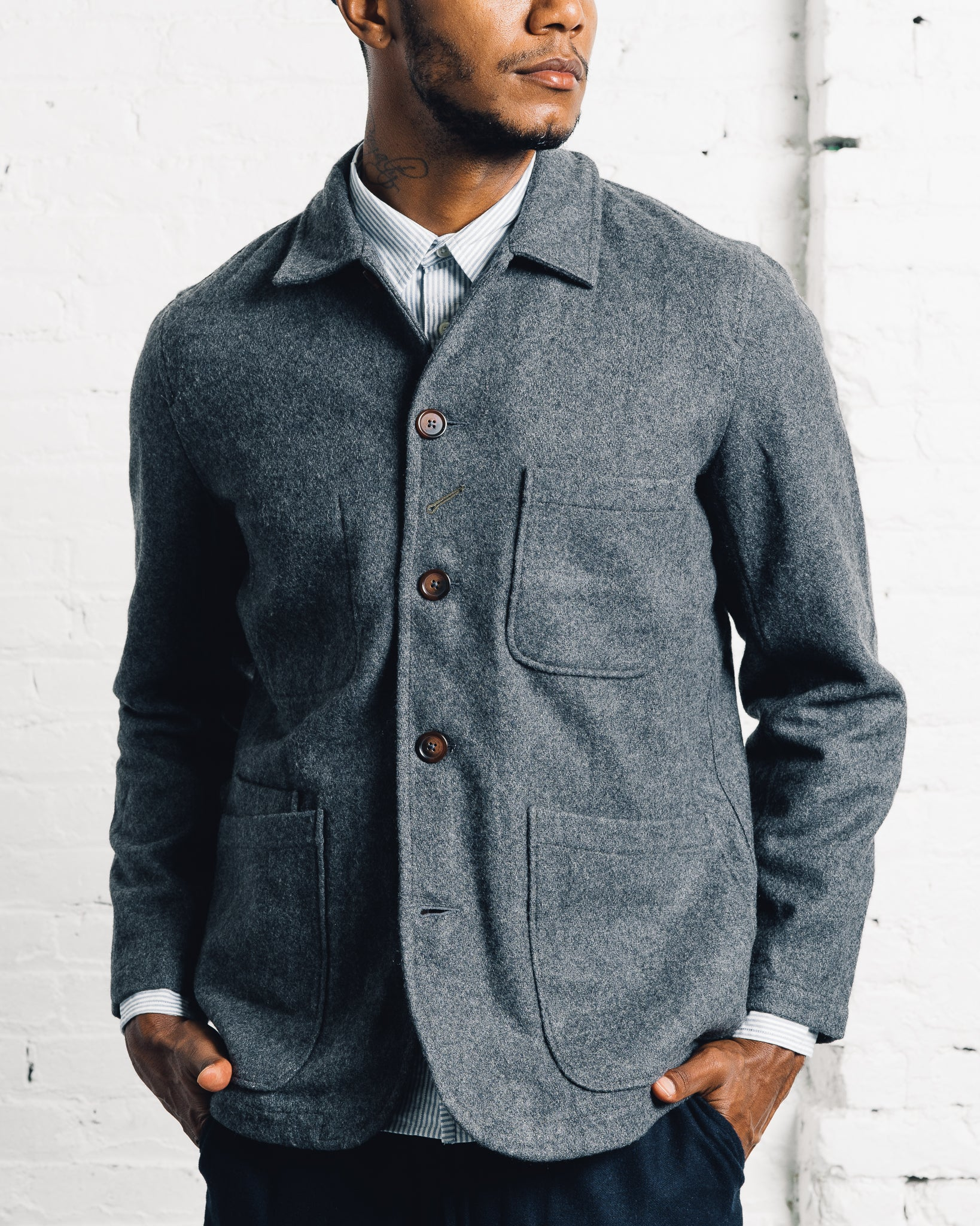 Universal Works Long Baker's Jacket, Charcoal